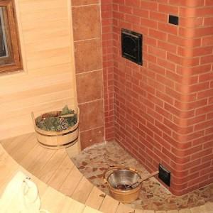 фото: газовая печка для бани из кирпича