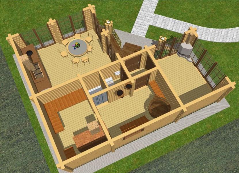 Проект угловой бани с барбекю