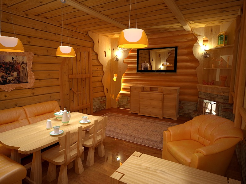 Интерьер бани-дома