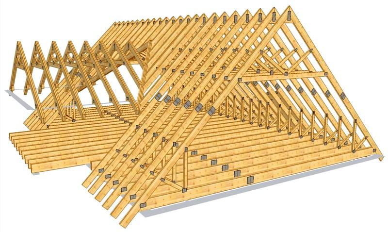 как сделать двускатную крышу на бане