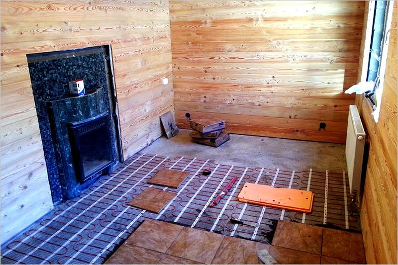 Как сделать электрические теплые полы в бани 568