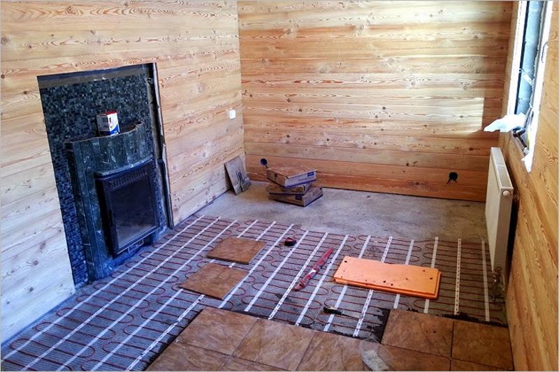 Как сделать теплый пол электрический в бане
