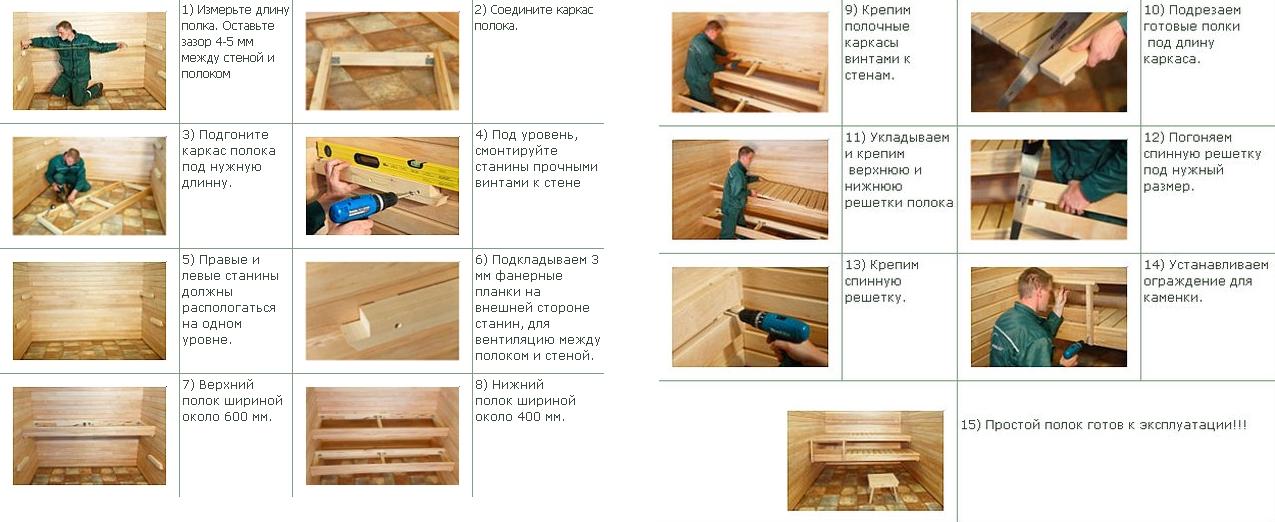 Как самому сделать полок в сауне