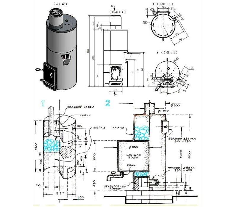 Схема печи из вертикальной трубы