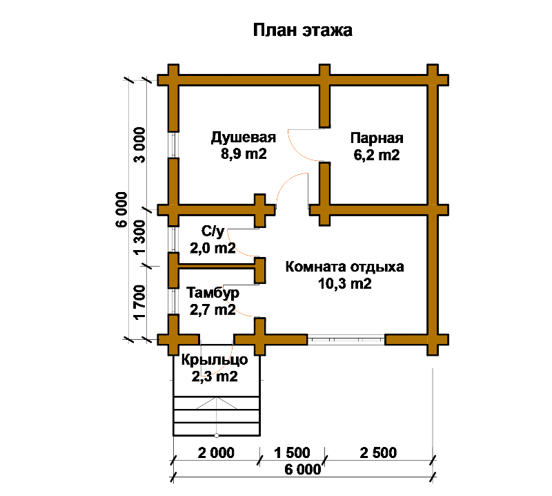План бани с туалетом внутри помещения