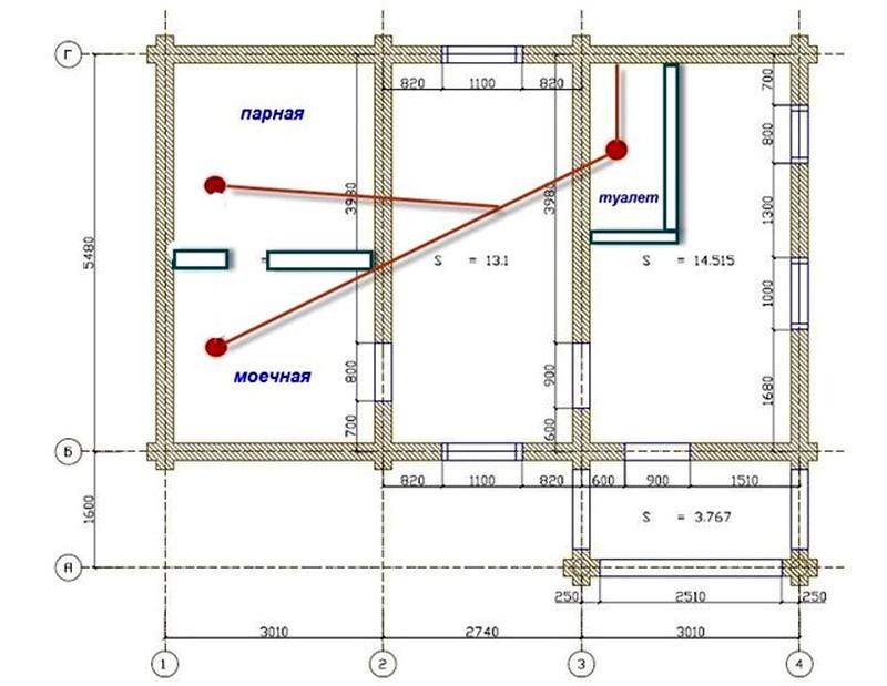 Схема внутренней канализации бани