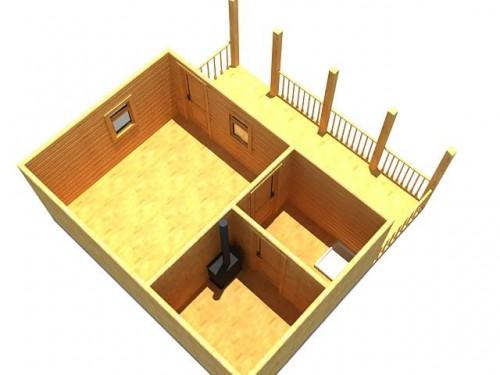 фото: схема размещения веранды сбоку бани