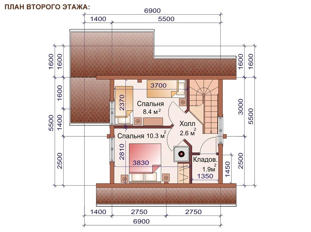 План второго этажа двухэтажной бани