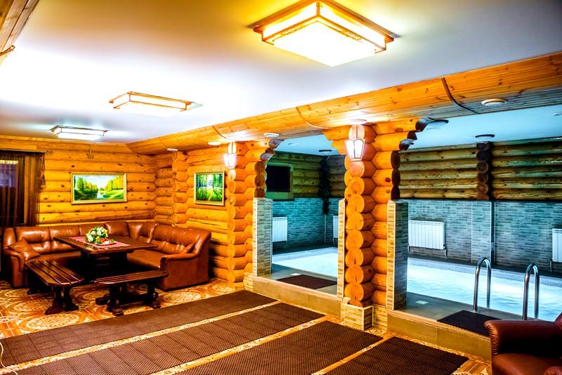 двухэтажная баня с бассейном
