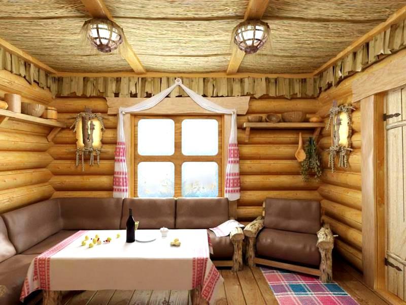 дизайн комнаты отдыха в бане в русском стиле
