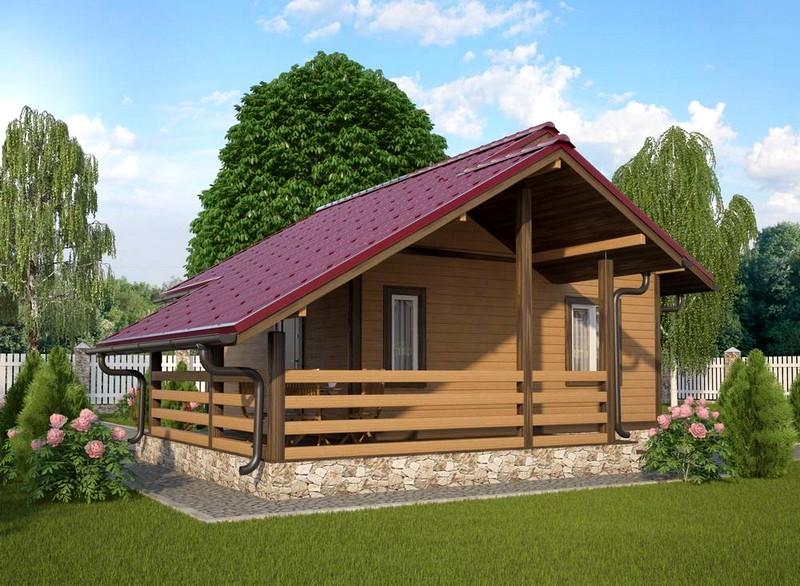 проект одноэтажной бани с террасой