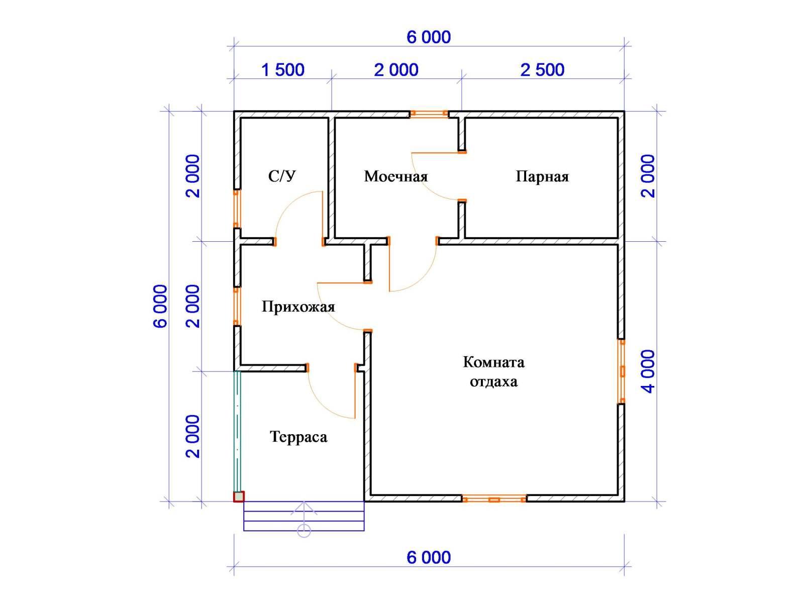 Проект бани 6х6 м с санузлом
