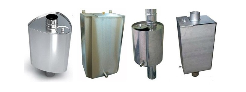 Формы баков для воды для бани на дымоход