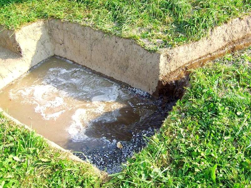 Канализация в бане с приямком