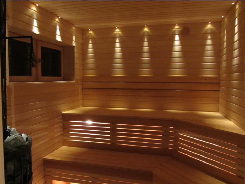 Пример оптоволоконного освещения в бане