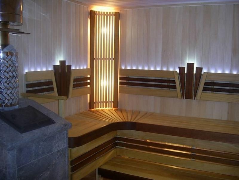 Использование светодиодного освещения в бане
