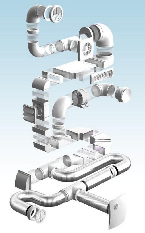 Пример соединения элементов пластиковой вентиляционной системы для бани